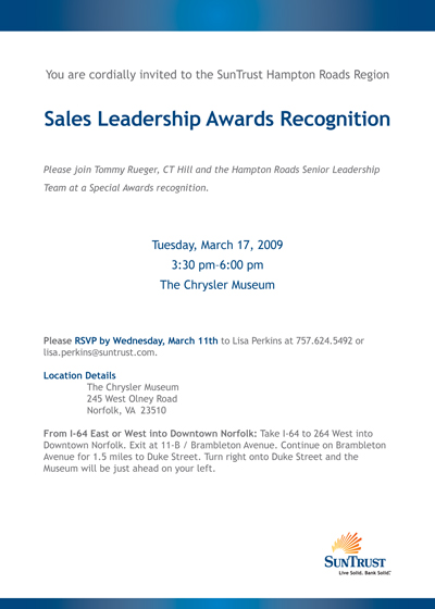 E-mail invitation to awards event.