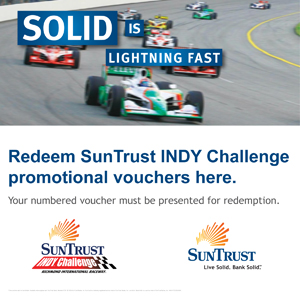 co-branded SunTrust and INDY Challenge signage