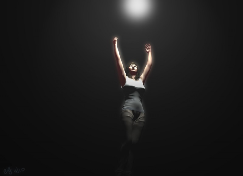 a woman reaching for the light