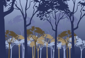 silhouettes of trees in shades of blue
