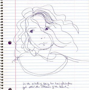 a sketch of a face with blowing hair on lined notebook paper