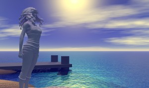 Virtual landscape of statue of a woman on the beach