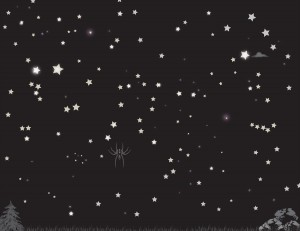 a tangential spider icon in a black starry sky
