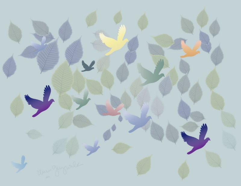 bird and leaf symbols in cool color shades on pale blue background
