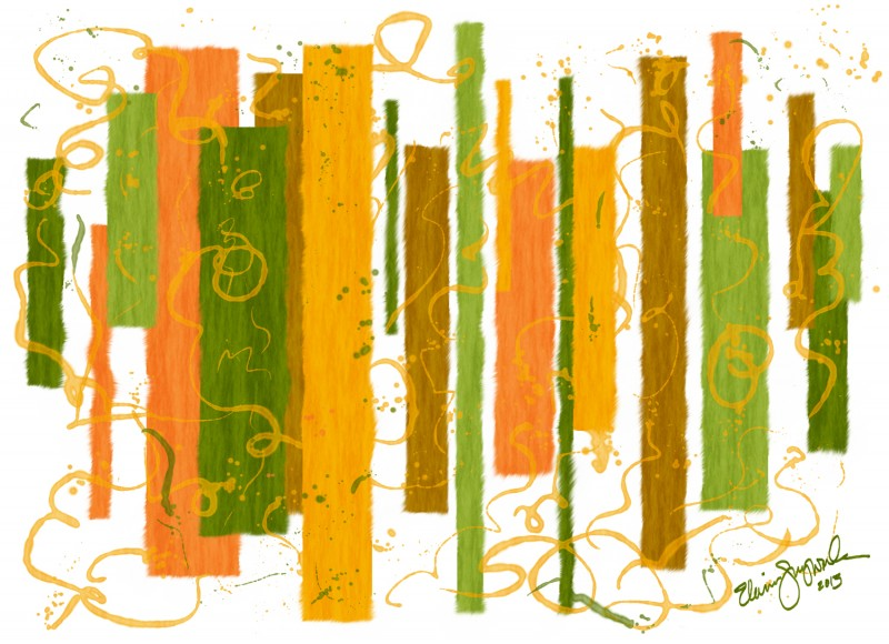 abstract vertical color spaces in greens and oranges