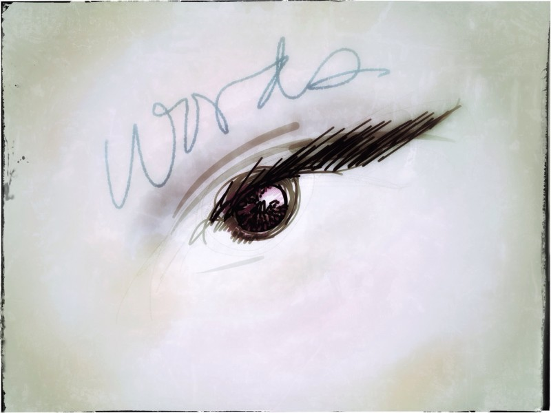"Hand drawn eye with ""word"""