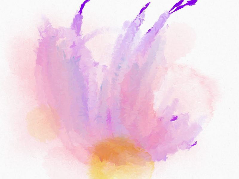 Abstract rumpled wash in pinks, lavender, and yellows.