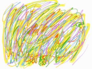 Abstract gestural art in yellow, green, and purple