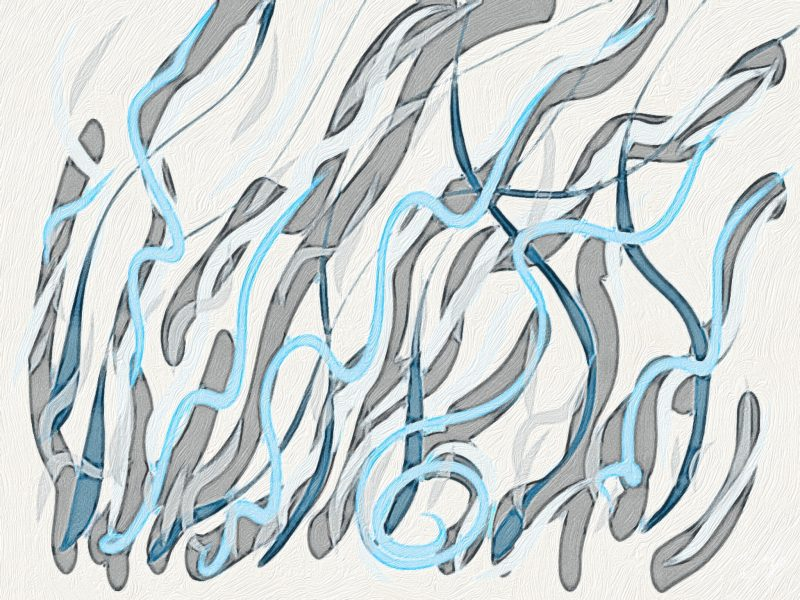 Abstract art in blues and grays