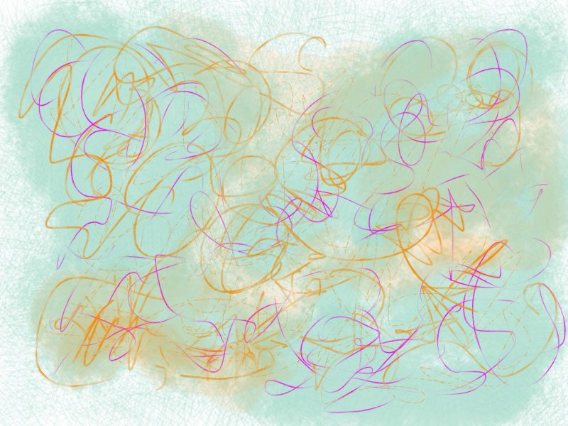 Abstract gestural art in teal and orange and yellow.